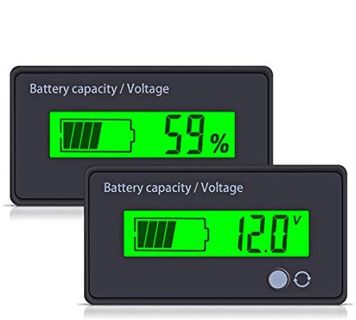 utipower Multifunctional 12V LCD Battery Capacity Monitor Gauge Meter for Lead-Acid Battery Vehicle Battery, Green