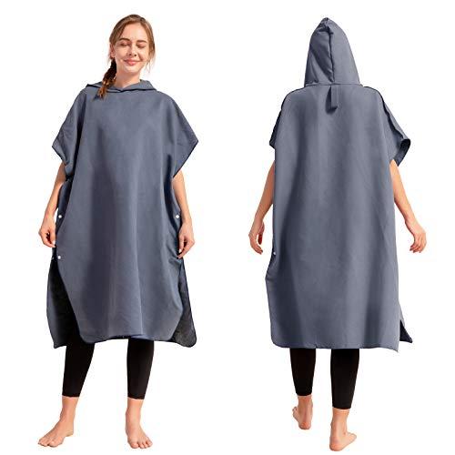 Topchances - Toalla de microfibra extremadamente ligera y de secado rápido, también como poncho Surf para hombres y mujeres (gris oscuro)