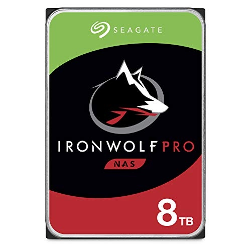 Seagate 8 TB IronWolf Pro 3.5 Inch Internal Hard Drive for 1-24 Bay NAS Systems (7200 RPM, 256 MB Cache, 300 TB/year Workload Rating, Up to 214 MB/s, Model: ST8000NEZ004/NE0004)
