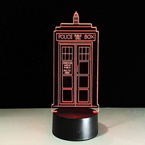 Tafelaccessoires voor kantoor lamp 3D nachtlampje politie box nachtlampje 3D bureaulamp kleurrijke LED lamp politie box 3D decoratie voor huis Engelse vrienden geschenk opslag voor kinderen met 3D-afstandsbediening