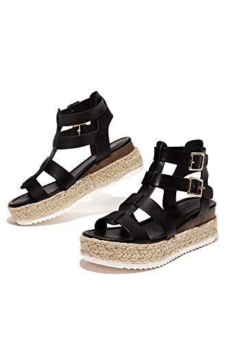 SODA JDTopic Damen Fußgelenkriemen, Espadrille-Sandale