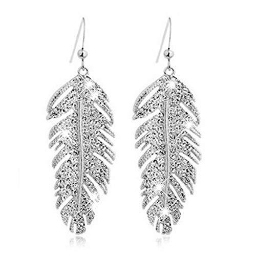 U-K Pendientes Colgantes de Ganchillo de Fiesta de Plumas de Diamantes de imitación Retro Boho de aleación de Mujer Pendientes Colgantes - Plata Rentable y duraderoAtractivo tratado