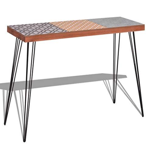 WT Trade Deluxe Konsolentisch Konsole Ablagetisch Braun | 90 cm | MDF Stahl | Sideboard Vintage Flurtisch | Sekretär Tischkonsole Kommode Schminktisch Schreibtisch
