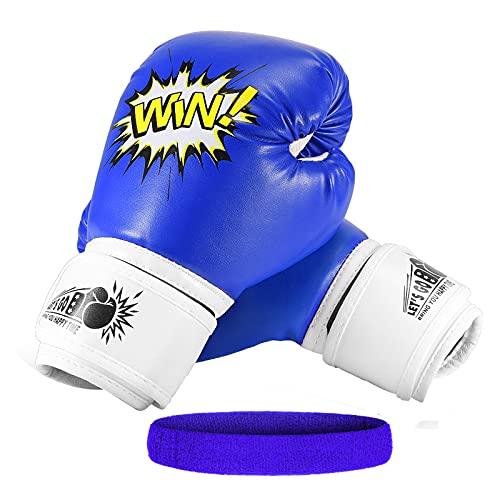 LetsGO toyz Guantes de Boxeo para Niños, Regalos Niños 4-12 Años Guantes Boxeo Niños 4oz Regalos de Cumpleanos 4-15 Años Juguetes para Chicos de 3-12 Años- Azul