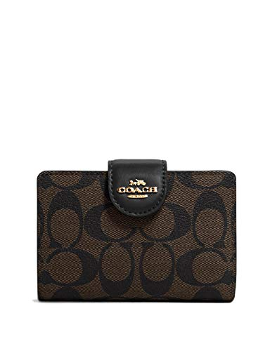 Coach Women's Medium Corner Zip Wallet in Signature Canvas (Brown - Black)