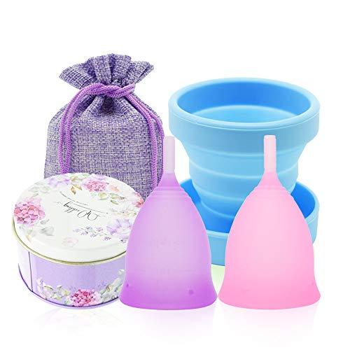 SPEQUIX 2 STKS Menstruele Cup (Klein & Large) en 1 STKS Steriliseren Cup Set voor Vrouwen Menstruele Hygiëne Cups (Klein & Large)
