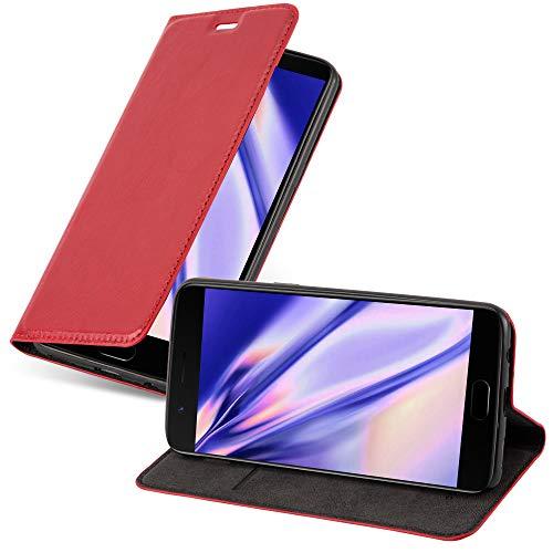 Cadorabo Custodia Libro per OnePlus 5 in ROSSO MELA - con Vani di Carte, Funzione Stand e Chiusura Magnetica - Portafoglio Cover Case Wallet Book Etui Protezione