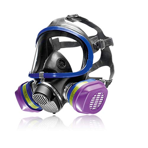 Dräger X-plore 5500 Full-Face Respirator Mask + 2x Combination Cartridge OV/AG/HF/FM/CD/AM/MA/HS/P100 | One size fits most | NIOSH Certified Eye and Respiratory Protection, Anti-Fog, 180° View