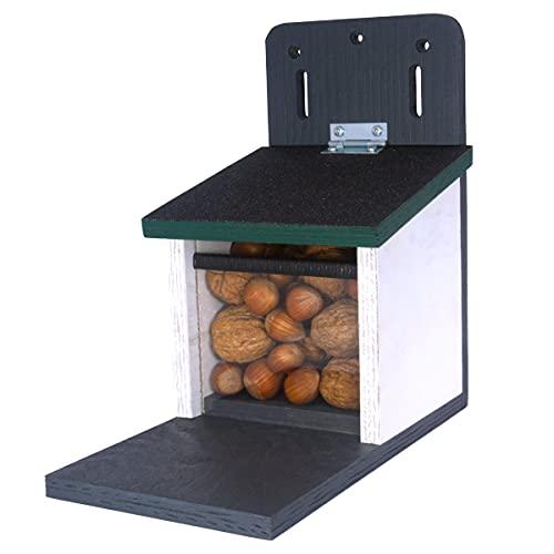 Holznager | Eichhörnchen Futterhaus wetterfest, sehr stabil und sicher | Handmade aus eigener Produktion im Schwarzwald | Belüftungssystem für trockenes Eichhörnchenfutter, Eichhörnchen Haus