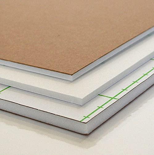 Carton pluma Blanco-Kraft Adhesivo | A4 (21 x 29,7 cm) 10 unidades, 3mm grosor | Ideal para usos fotografico, presentación, maquetación y costuras