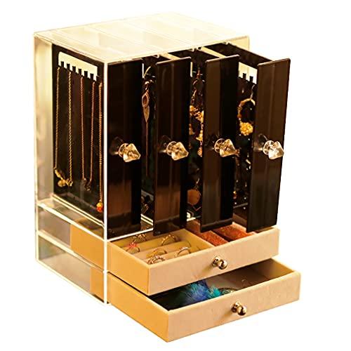Cajas de joyería de acrílico de gran capacidad caja de almacenamiento de joyería con 5/6 cajones transparente soporte de joyería para anillos, pendientes, collares y pulseras
