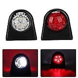 2X 8 luces Indicadoras Laterales LED 12 / 24V Lámpara Lateral del Remolque Advertencia de Doble Cara Luz Roja Blanca para la Caravana de RV