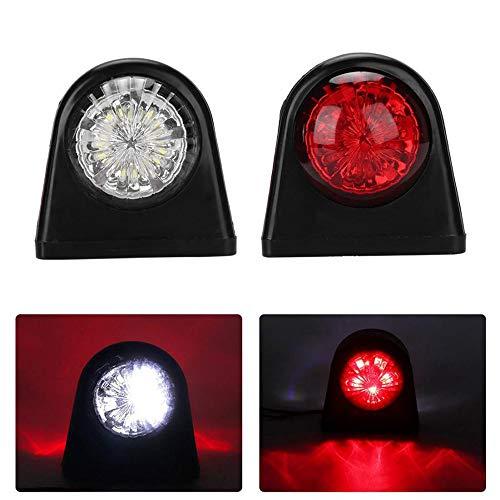 2X 8 LED Seitenmarkierungsleuchten 12 / 24V Anhänger Seitenleuchte Doppelseitige Warnung Weißes rotes Licht für Wohnmobil-Wohnwagen