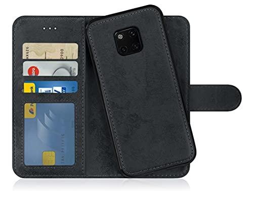 MyGadget Flip Case Handyhülle für Huawei Mate 20 Pro - Magnetische Hülle aus Kunstleder Klapphülle - Kartenfach Schutzhülle Wallet - Schwarz