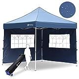 Sekey 3x3m Faltpavillon 100% Wasserdicht für Garten, mit 2 Seitenteilen, Blau