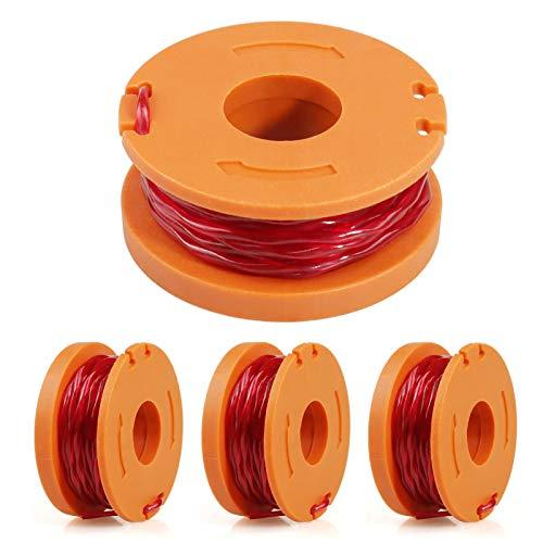 FIXITOK 4 Stücke Ersatzfaden Spulen Spool Linie für Trimmer Fadenspulen 3m Länge 1.65mm Fadendurchmesser Nylon Ersatzfaden Rasentrimmer Spulen Kompatibel mit Worx WG180 WG163 WG175