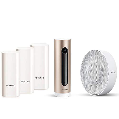 Netatmo Smarte Innen-Alarmsirene inklusive Netatmo Welcome Innenkamera Raumüberwachung und Fensterkontakt | 110 dB Alarm, Kamera mit Gesichtserkennung, Alarmanlage Einbruchschutz