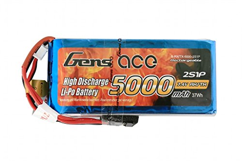 Gens Ace 5000mAh 7.4V 2S1P Receiver Transmitter LIPO Pack Akku for Modellbau RC Car Heli Plane Boat Truck FPV Auto Hubschrauber Flugzeug Toys