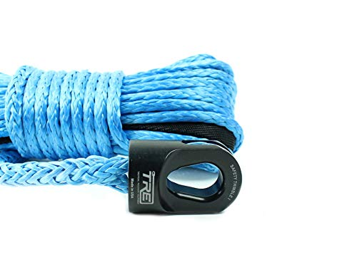 Best Deals! Tactical Recovery Equipment 3/8 x 100 ft. Synthetic Winch Rope - Blue