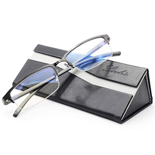 livho Blue Light Blocking Glasses,Transparent Lens,Computer Glasses,Anti Eyestrain/Anti Scratch/Anti UV Ray,Sleep Better for Women Men (Gun)