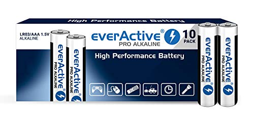 everActive AAA Batterien 10er Pack, Pro Alkaline, Micro LR03 R03 1.5V, höchster Leistung, 10 Jahre Haltbarkeit, 10 Stück, schwarz/Weiss