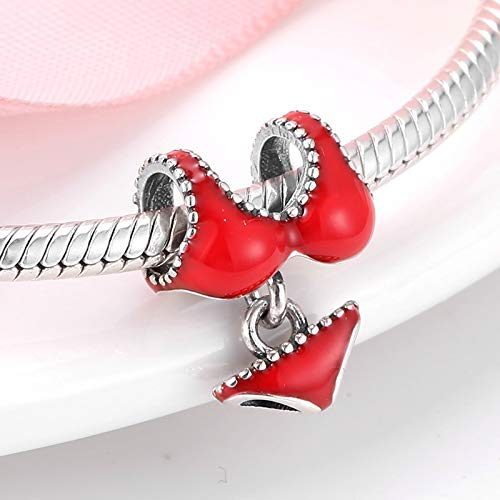 LFDHG Real 925 Plata esterlina Esmalte Rojo Moda Mujer Sexy Bikini Beads Fit Original Charm Bracelets joyería Fina fabricación