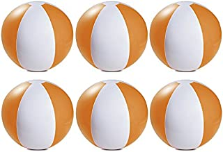 eBuyGB Pack of 6 Inflatable Colour Beach Ball Pool Game, Orange, 22cm / 9
