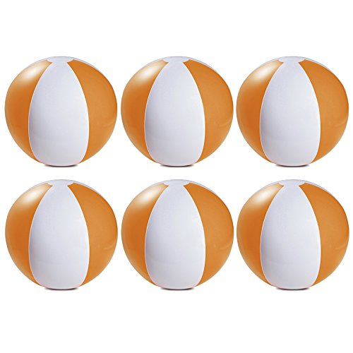 eBuyGB Packung mit 6 aufblasbaren Farben Wasserball Pool-Spiel, Orange, 22 cm / 9