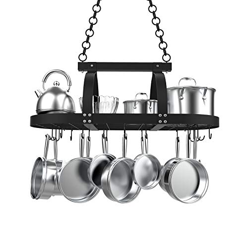KES Ceiling Hanging Pot Rack 85CM Ceiling Shelf for Kitchen Oval Pot and Pan Rack Matte Black Pot Hanger with 20 S Hooks, KUR221S85-BK