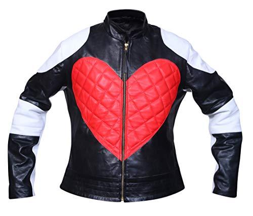 Kylie Minogue Black & White Heart Leather Jacket/カイリーミノーグブラック&ホワイトハートレザージャケット Excliria (2X-Large)