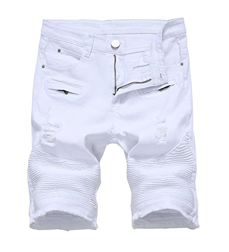 Mens Casual Zipper Biker Jeans Shorts Moto Denim Short Pants,Holes&white,32