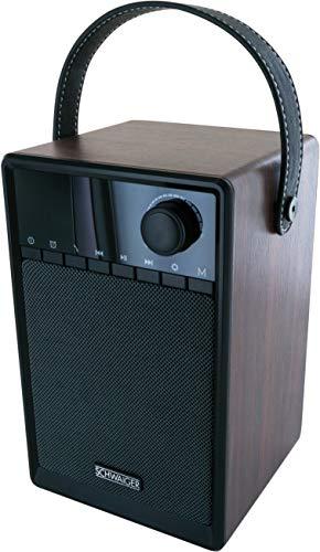 SCHWAIGER -715736- Radiowecker mit Bluetooth | UKW und FM Empfang | kleines Radio mit Uhr Anzeige und Tragegriff | Musikbox mit AUX und Mico SD Slot | tragbar | aus Holz