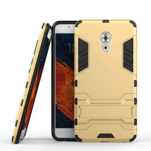 tinyue® Handyhülle für Meizu Pro 6 Plus, Hülle 2 in 1 Material Harte Schwer doppelte kratzfester Handyfall im Freienhandyfall Iron Man Rüstung mit Kickstand Hülle, Gold