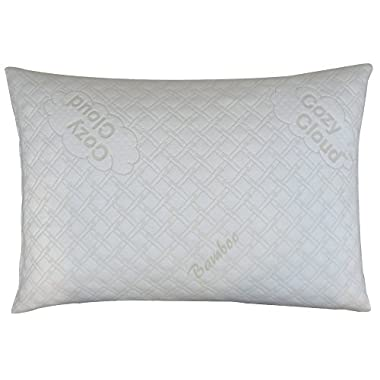 CozyCloud Deluxe Hypoallergenic Bamboo Shredded Memory Foam Pillow - Queen Size Softer