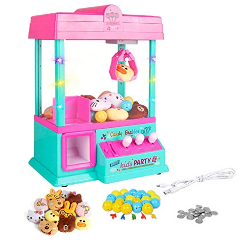 Urben Life Mini Juguetes Garra Máquina De Juego, Juguete Candy Doll Dispenser Crane Toy con Luces LED E Interruptor De Sonido Ajustable