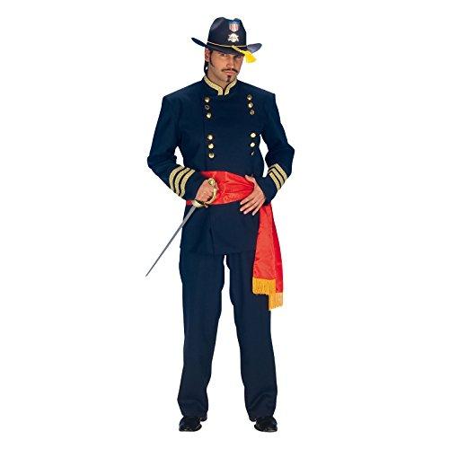 Elbenwald Nordstaatler Western Offizier Kostüm blau Anzug Herren mit Gürtel für Karneval und Fasching - 56