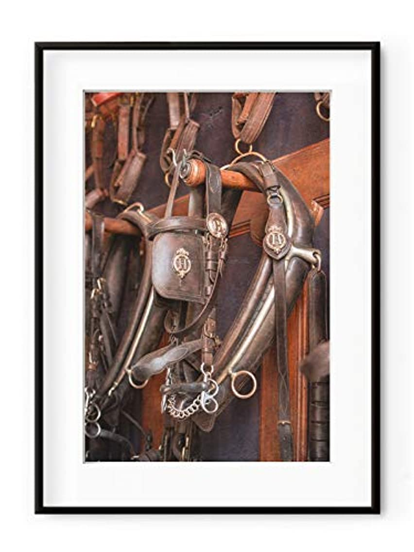 Harnachement du Horse, Black Satin Aluminium Frame, with Mount, Multicolored, 40x50