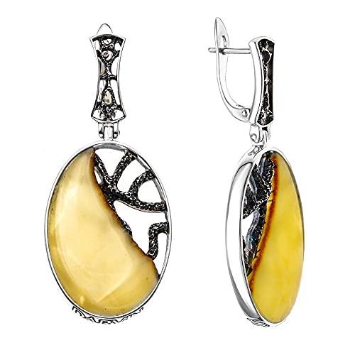 Mirkada - Pendientes de plata con ámbar, color amarillo
