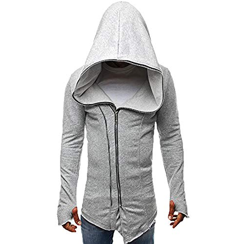 UJUNAOR Mantel Herren Dunkel Kapmantel Assassine Creed Reißverschluss Langer Pullover mit Kapuze(Grau,CN L)