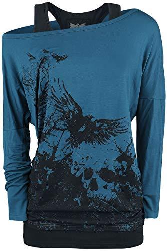 Black Premium by EMP Busting Loose Frauen Langarmshirt schwarz/blau L