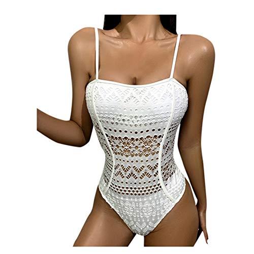 Bikini sexy de cintura alta de una pieza con parte superior de tubo de malla sólida para mujer
