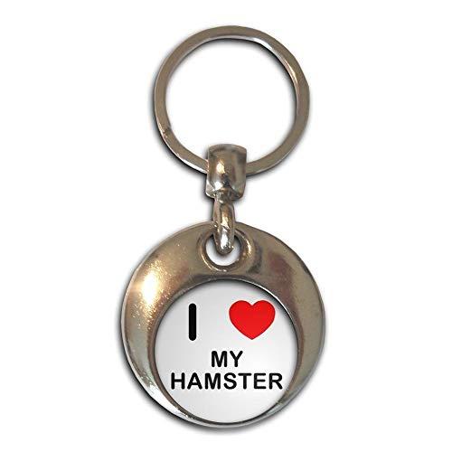 BadgeBeast.co.uk I Love Heart My Hamster - Chrom runden doppelseitigen Schlüsselanhänger