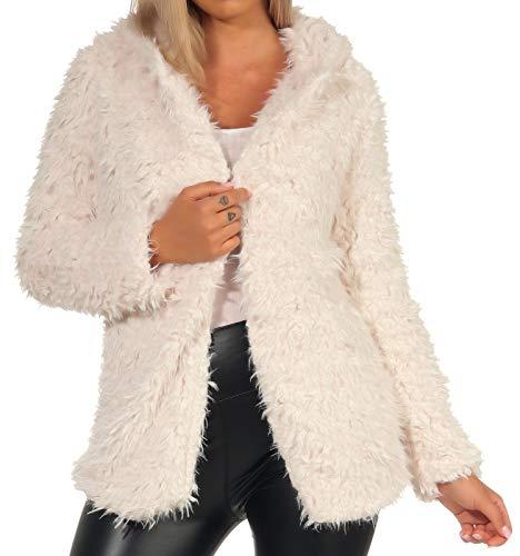 Hailys Damen Kunstpelz Jacke mit Kapuze Kurzmantel Plüsch Cardigan (XL, Offwhite)