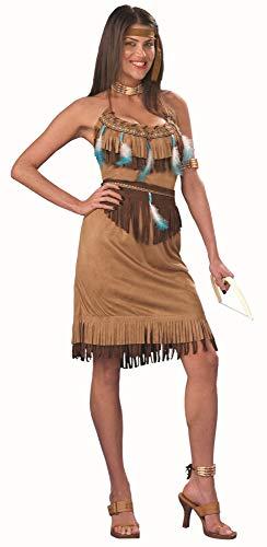 shoperama PowWow - Disfraz de india para mujer, vestido con flecos, cinturn y plumas, tallas M-XL