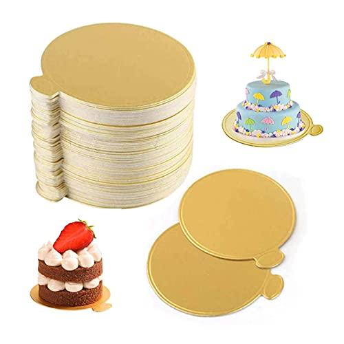 Tableros redondos para tartas, 100 unidades, base de tablero de postre con forma de círculo dorado, papel base para magdalenas,...