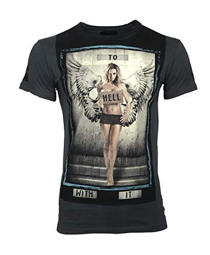 Religion Clothing to HELL Dark Metal - Camiseta para hombre gris XS