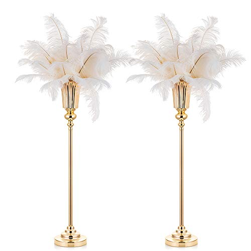 NUPTIO 2 Pcs 77.5cm Height Wedding Centerpieces Vase for Tables, Metal Trumpet Vase, Road Lead for Wedding Party Dinner Centerpiece Event for Anniversary Ceremony Birthday Event Aisle Home Decoration