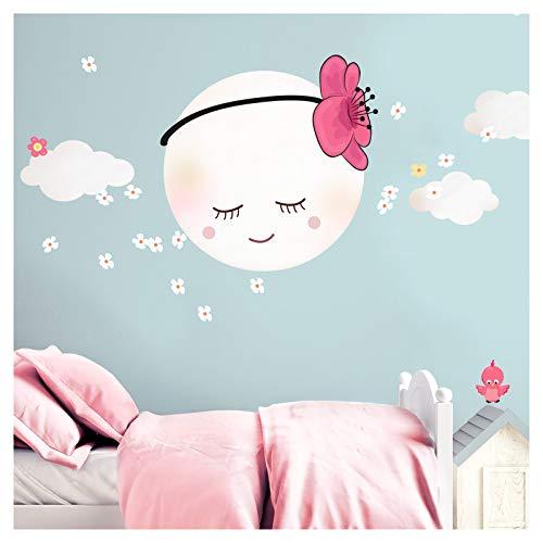 Little Deco Wandsticker Kinderzimmer Mädchen Mond mit Blume & Wolken I M - 20 x 20 cm (BxH) I Wandtattoo Babyzimmer selbstklebend Wandaufkleber Aufkleber DL275