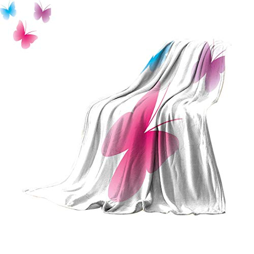 Amazing Decor Custom Print Blanket, Butterfly Silhouettes Spiritual Wings Life Themed Image Breathable Thermal Throws Blanket Travel, 60' x 36' Pink Dried Rose Blue