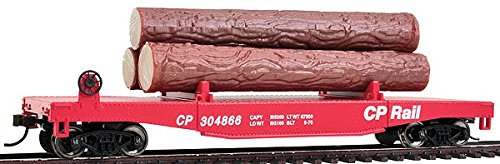 Walthers Trainline Walthers Trainline(R) Log Dump Car with 3 Logs - Ready to Run Canadian Pacific #304866 (Red, CP Rail Lettering)